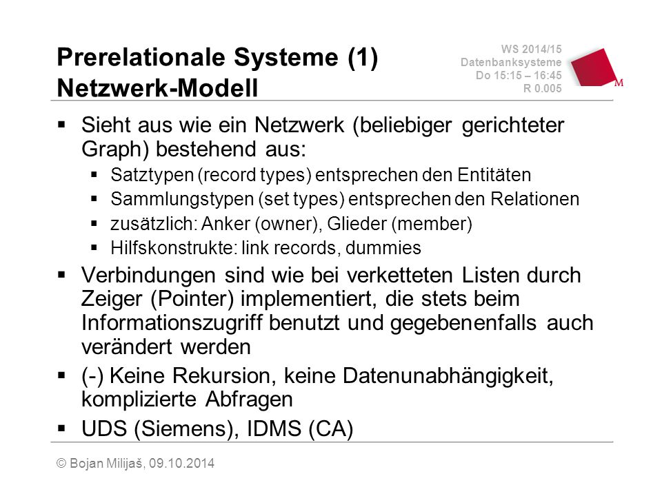 Prerelationale Systeme (1) Netzwerk-Modell