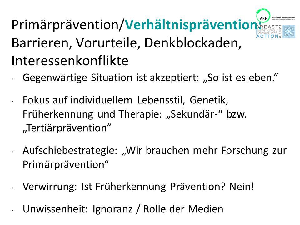 Primärprävention/Verhältnisprävention: Barrieren, Vorurteile, Denkblockaden, Interessenkonflikte