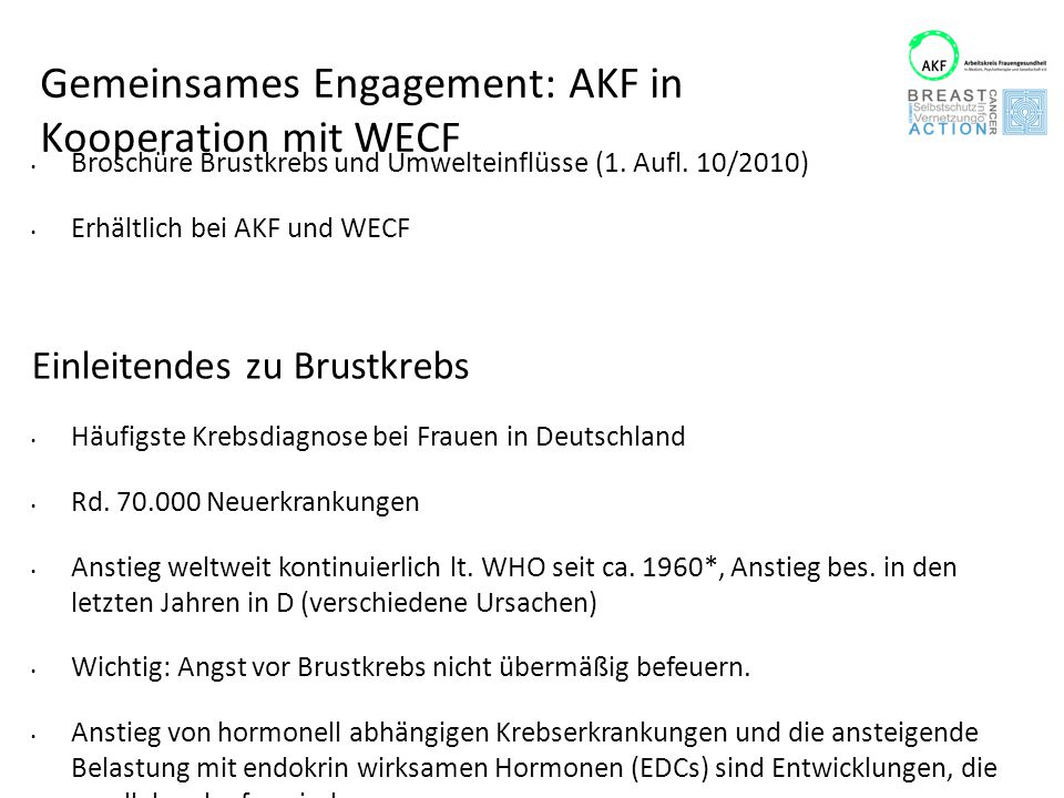Gemeinsames Engagement: AKF in Kooperation mit WECF