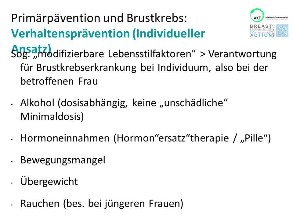Primärpävention und Brustkrebs: Verhaltensprävention (Individueller Ansatz)