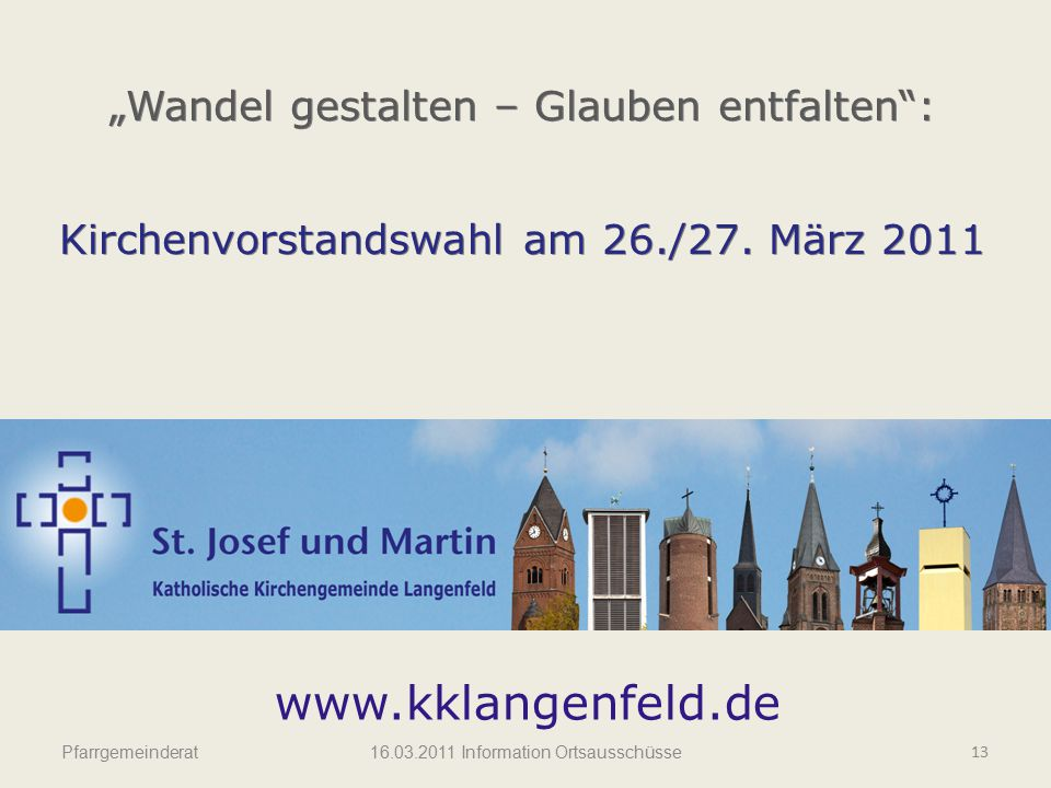 """www.kklangenfeld.de """"Wandel gestalten – Glauben entfalten :"""