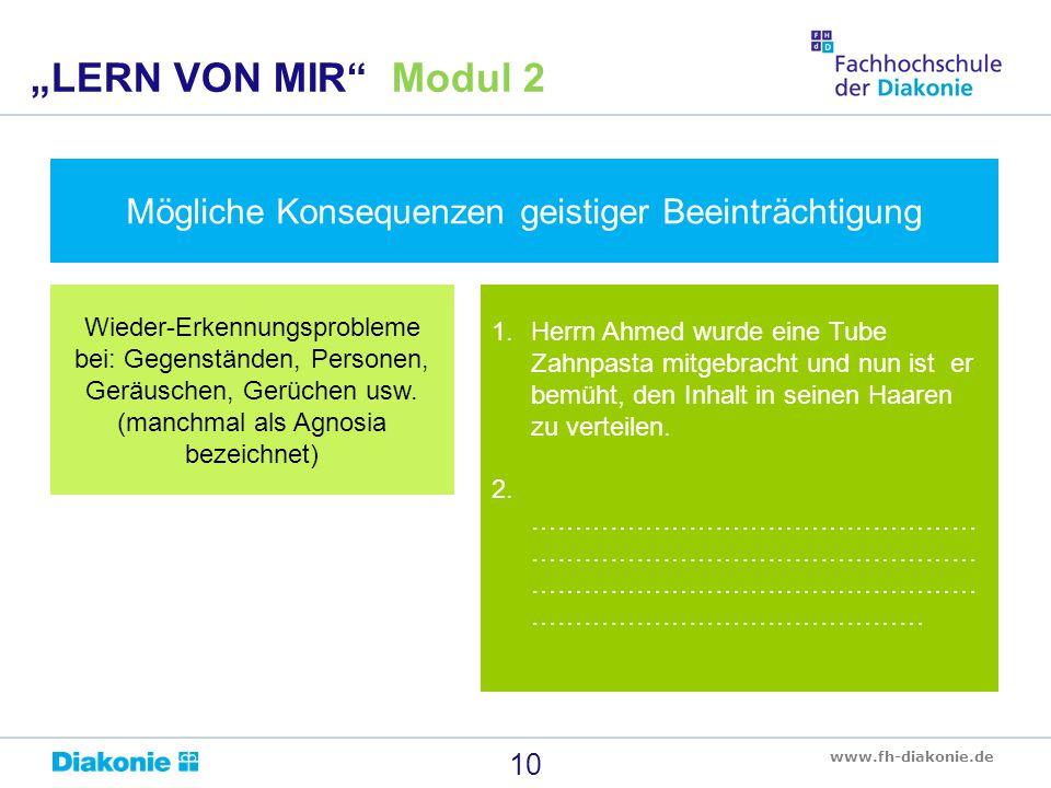 """""""LERN VON MIR Modul 2 Mögliche Konsequenzen geistiger Beeinträchtigung."""