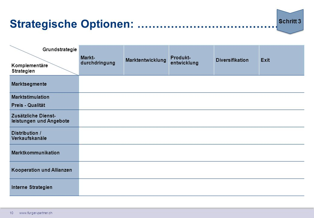 Strategische Optionen: ………………………………….