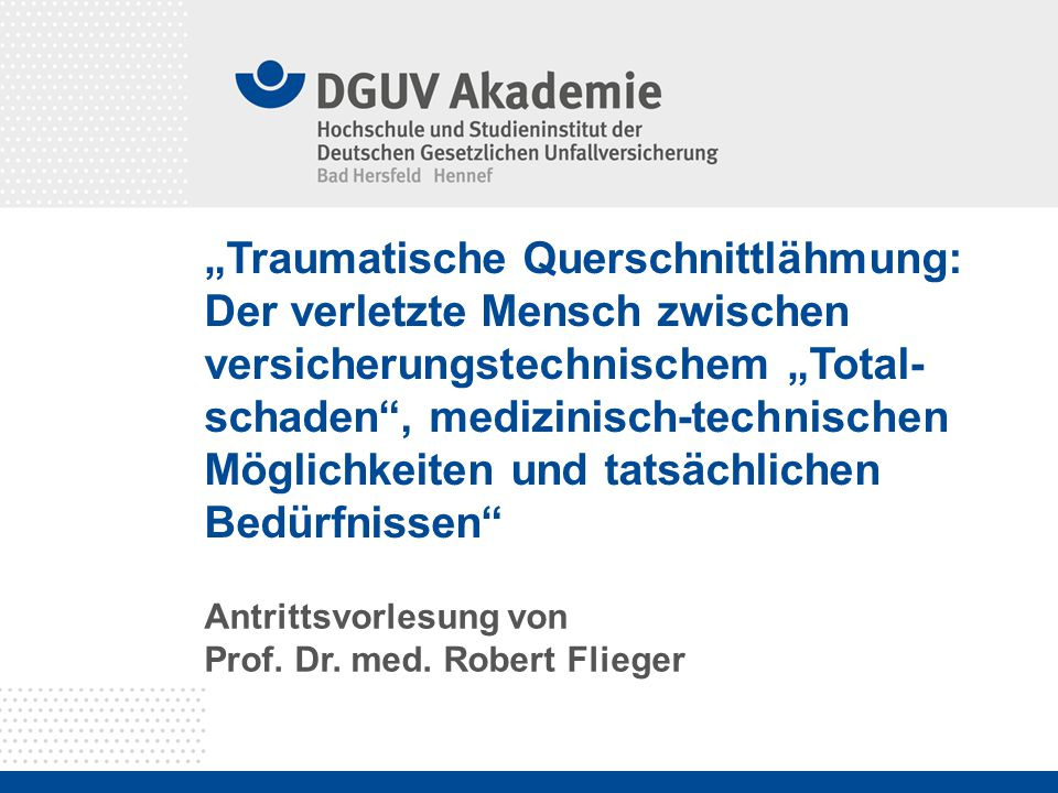 Antrittsvorlesung von Prof. Dr. med. Robert Flieger