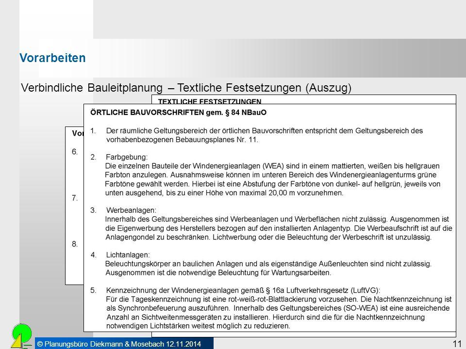 Vorarbeiten Verbindliche Bauleitplanung – Textliche Festsetzungen (Auszug) 11