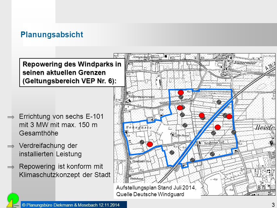 Planungsabsicht Repowering des Windparks in seinen aktuellen Grenzen (Geltungsbereich VEP Nr. 6):