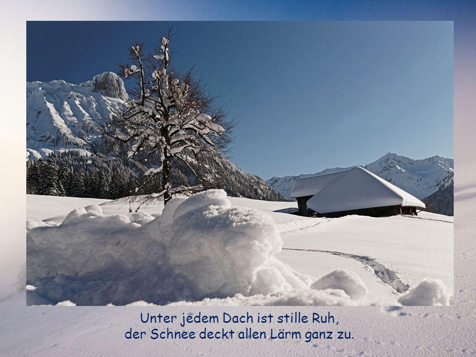 Unter jedem Dach ist stille Ruh, der Schnee deckt allen Lärm ganz zu.