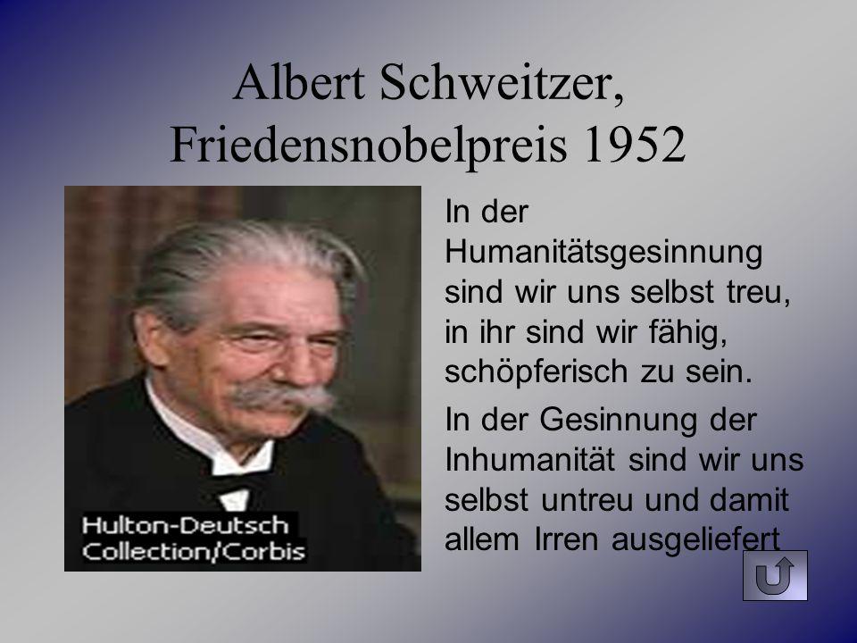 Albert Schweitzer, Friedensnobelpreis 1952