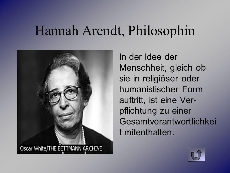 Hannah Arendt, Philosophin