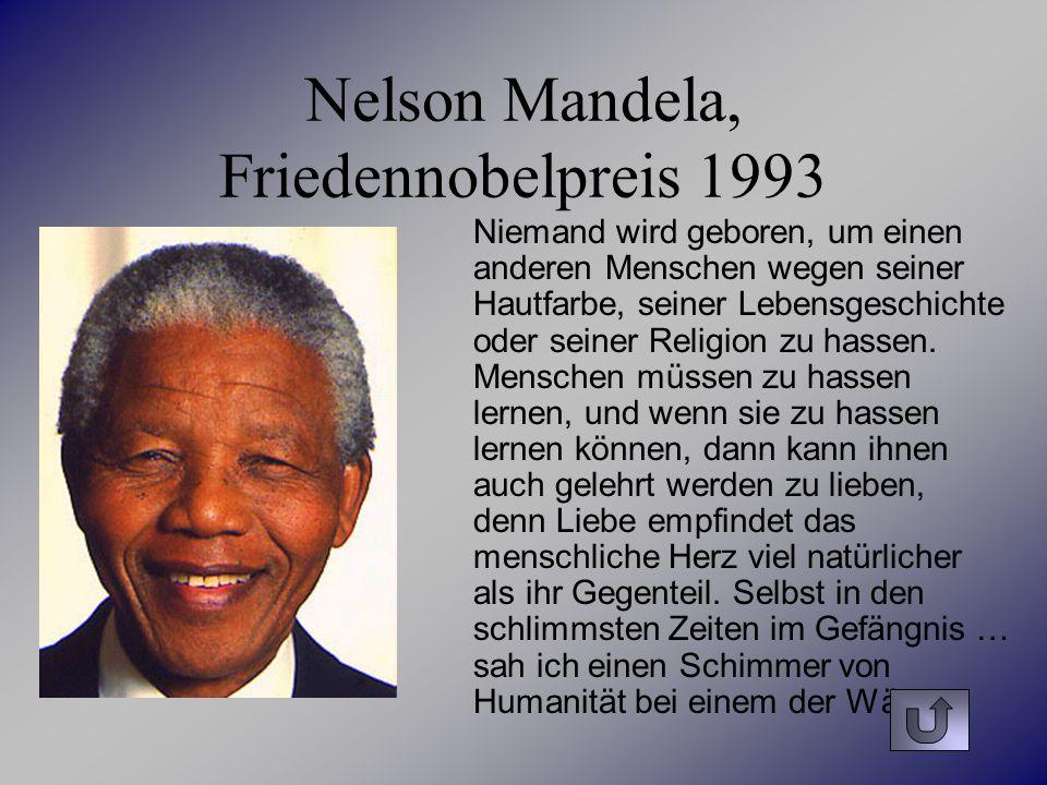 Nelson Mandela, Friedennobelpreis 1993
