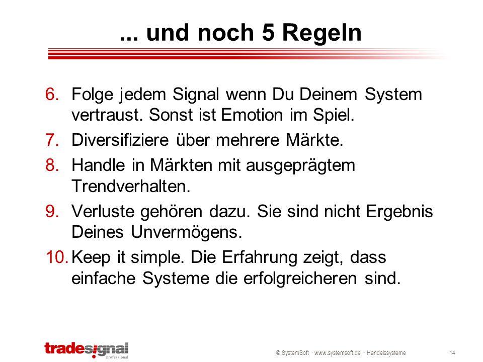 ... und noch 5 Regeln Folge jedem Signal wenn Du Deinem System vertraust. Sonst ist Emotion im Spiel.