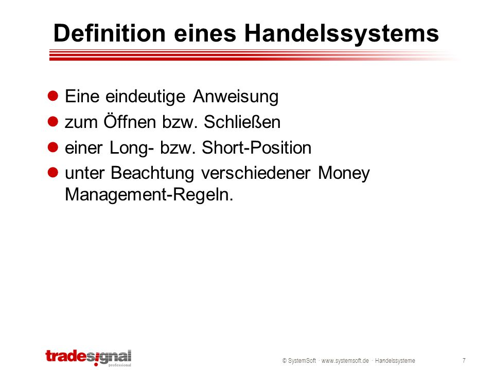 Definition eines Handelssystems