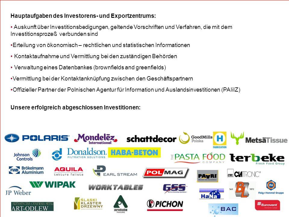 Hauptaufgaben des Investorens- und Exportzentrums: