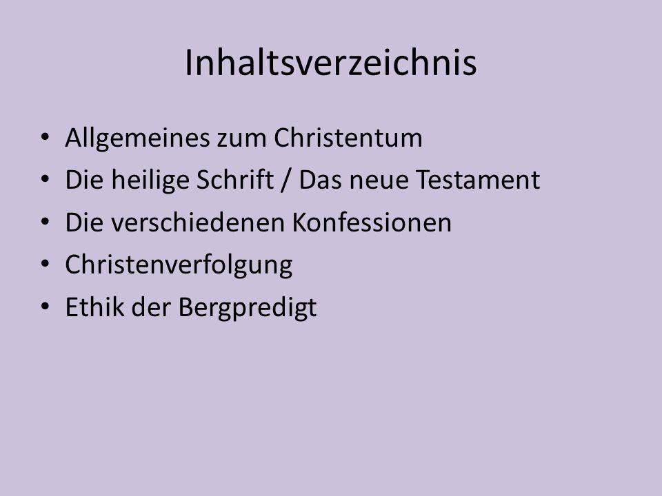 Inhaltsverzeichnis Allgemeines zum Christentum