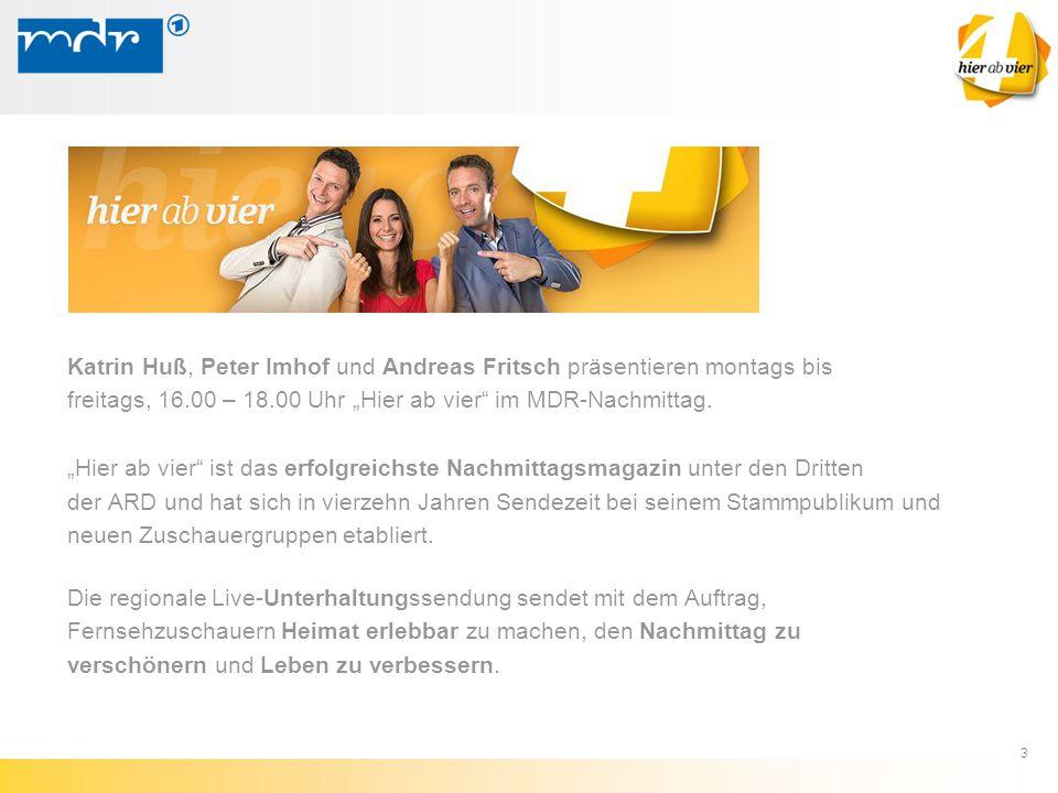 Katrin Huß, Peter Imhof und Andreas Fritsch präsentieren montags bis
