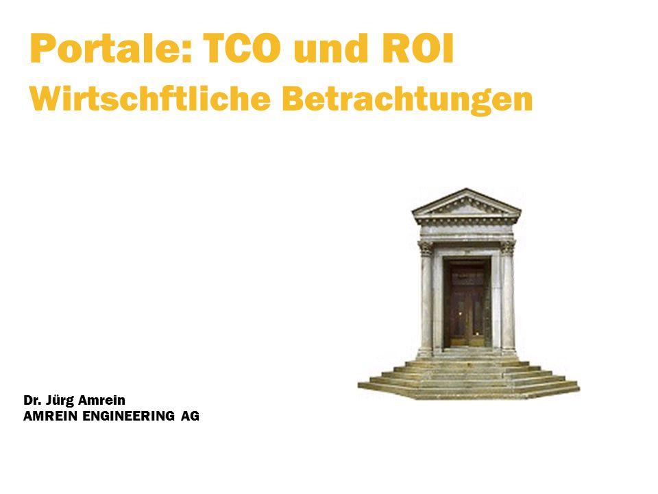 Portale: TCO und ROI Wirtschftliche Betrachtungen