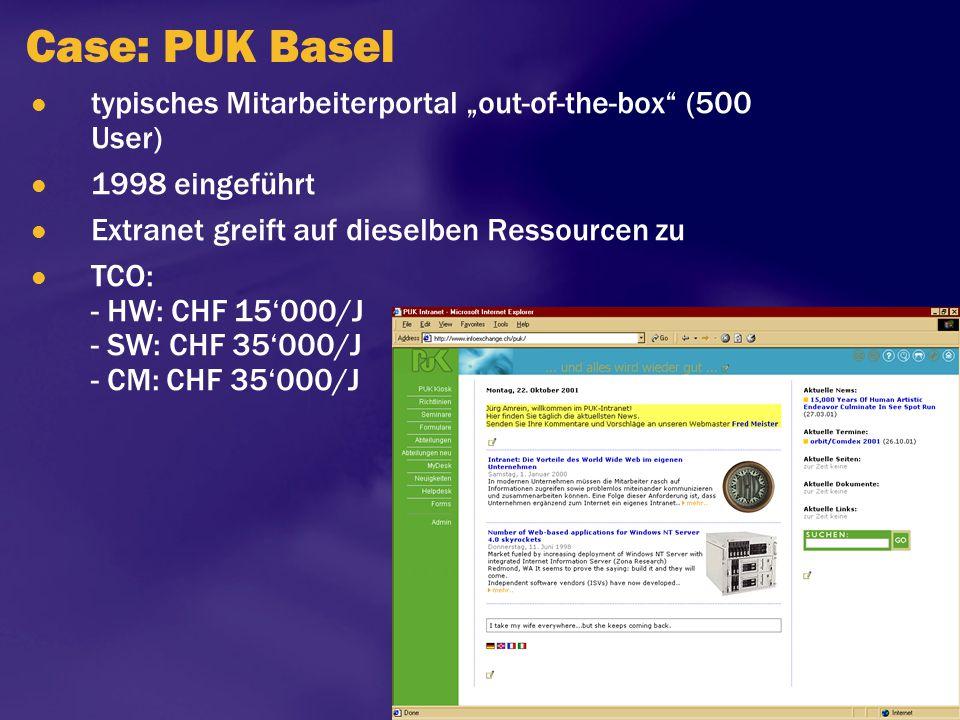 """Case: PUK Basel typisches Mitarbeiterportal """"out-of-the-box (500 User) 1998 eingeführt. Extranet greift auf dieselben Ressourcen zu."""