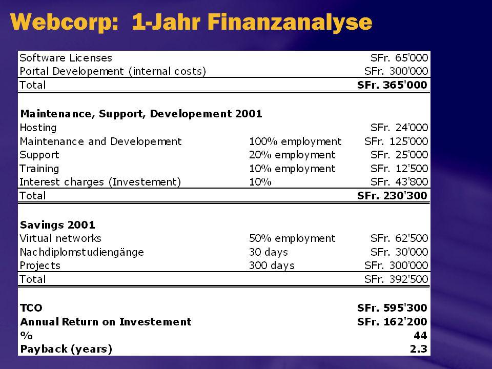Webcorp: 1-Jahr Finanzanalyse