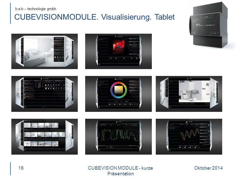 CUBEVISIONMODULE. Visualisierung. Tablet