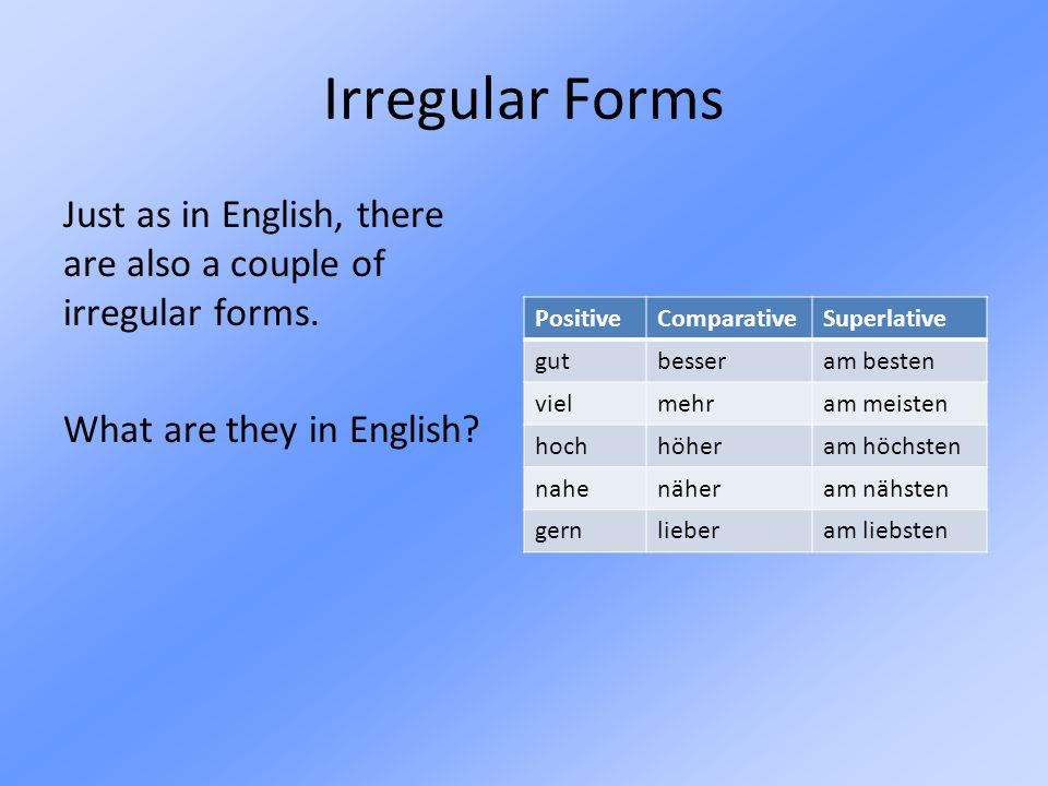 Irregular Forms Just as in English, there are also a couple of irregular forms. What are they in English
