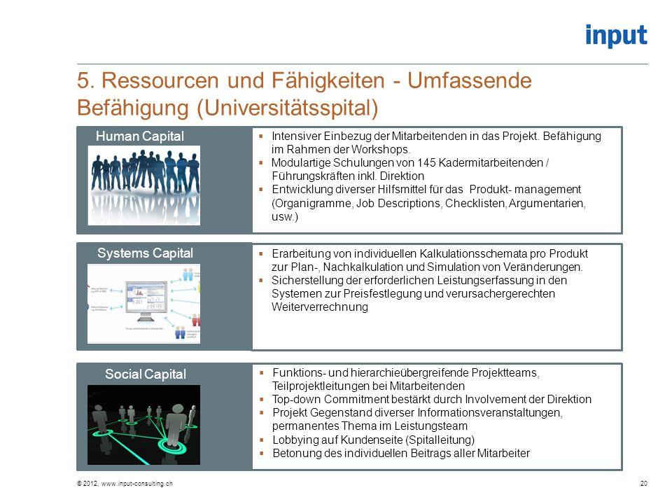 5. Ressourcen und Fähigkeiten - Umfassende Befähigung (Universitätsspital)