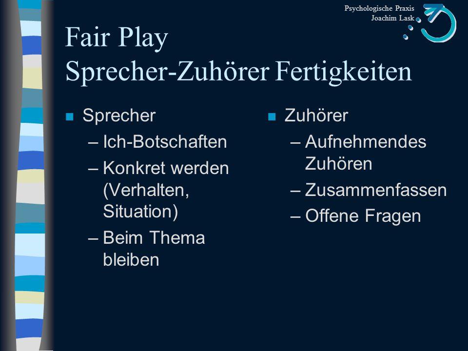 Fair Play Sprecher-Zuhörer Fertigkeiten