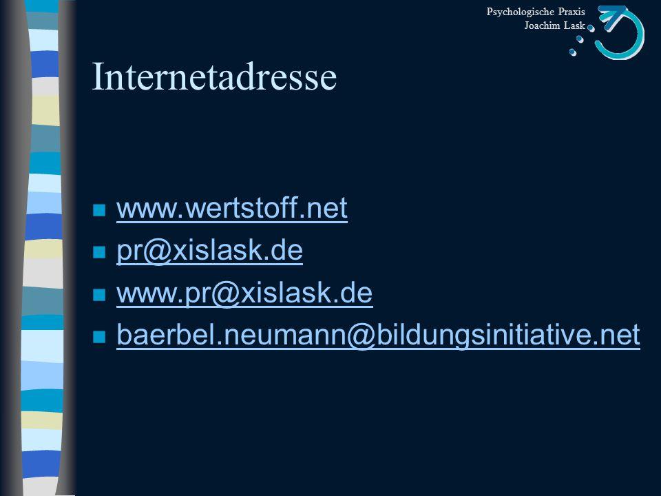 Internetadresse www.wertstoff.net pr@xislask.de www.pr@xislask.de