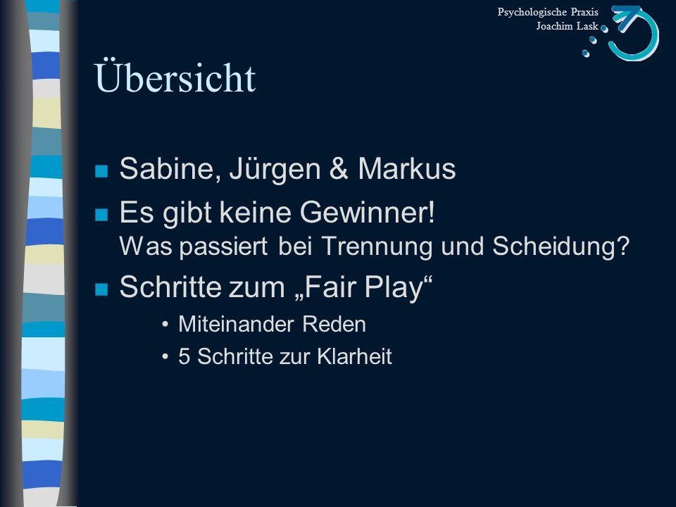 Übersicht Sabine, Jürgen & Markus