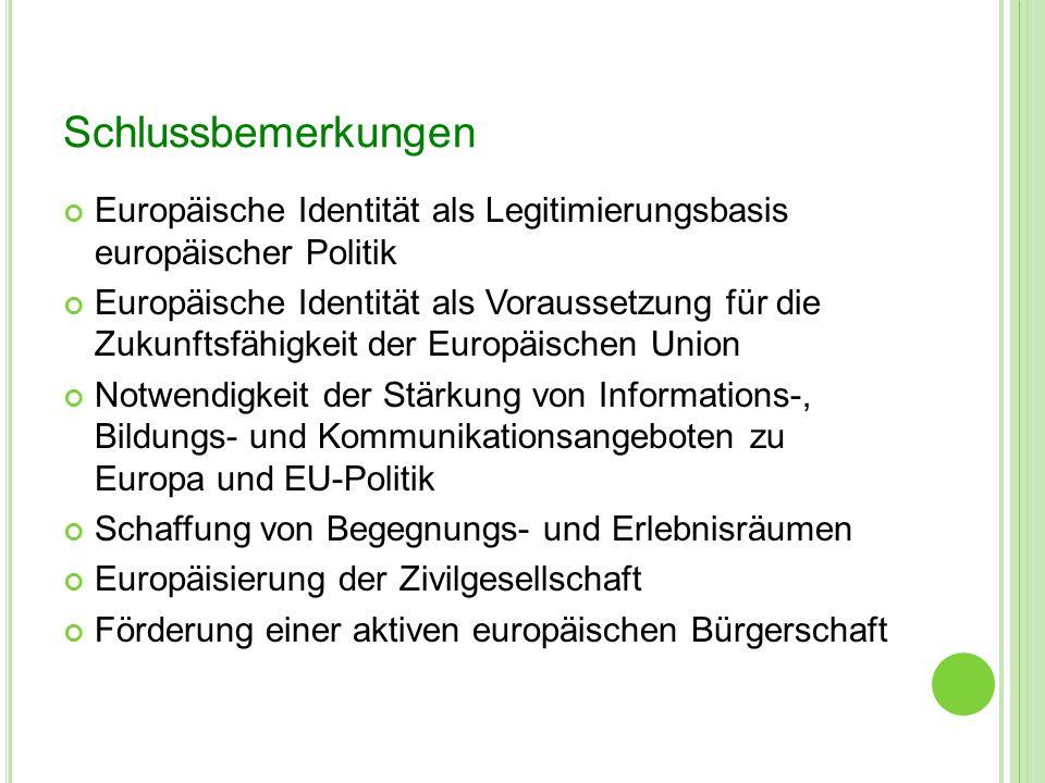 Schlussbemerkungen Europäische Identität als Legitimierungsbasis europäischer Politik.