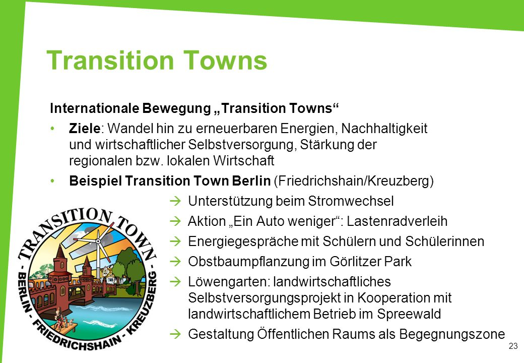 "Transition Towns Internationale Bewegung ""Transition Towns"