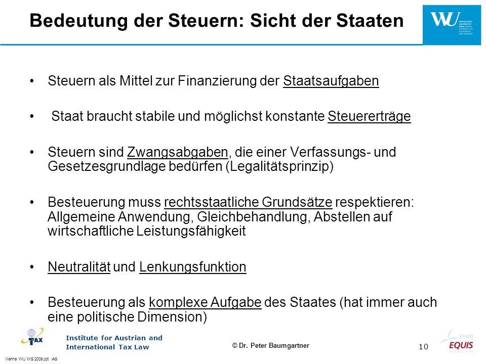Bedeutung der Steuern: Sicht der Staaten