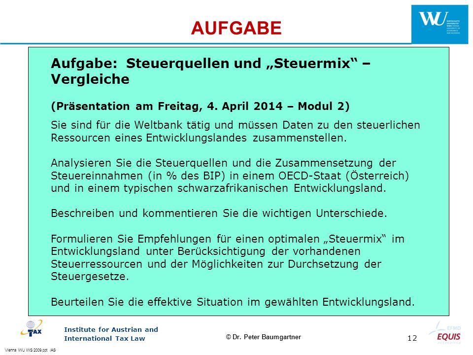 """AUFGABE Aufgabe: Steuerquellen und """"Steuermix – Vergleiche"""