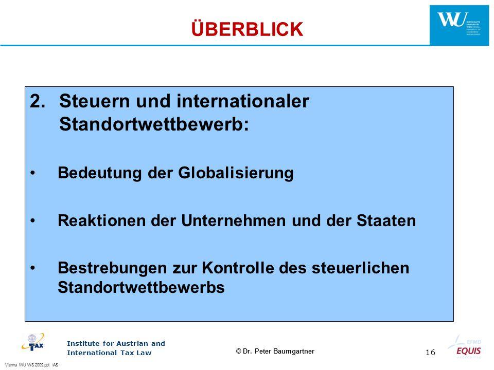 2. Steuern und internationaler Standortwettbewerb: