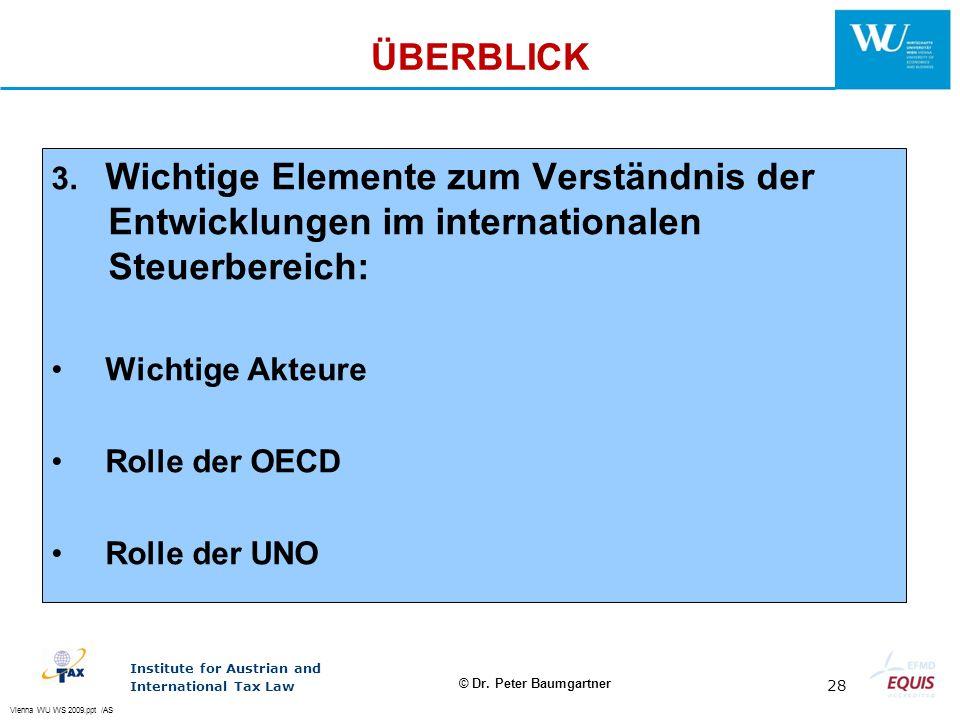 ÜBERBLICK 3. Wichtige Elemente zum Verständnis der Entwicklungen im internationalen Steuerbereich: