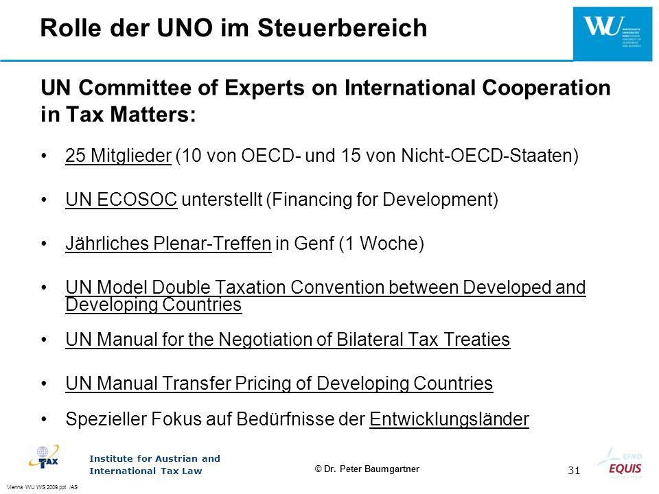 Rolle der UNO im Steuerbereich