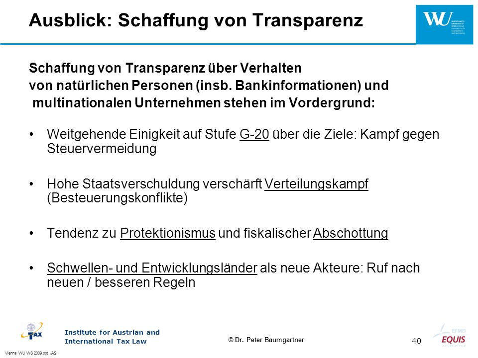 Ausblick: Schaffung von Transparenz