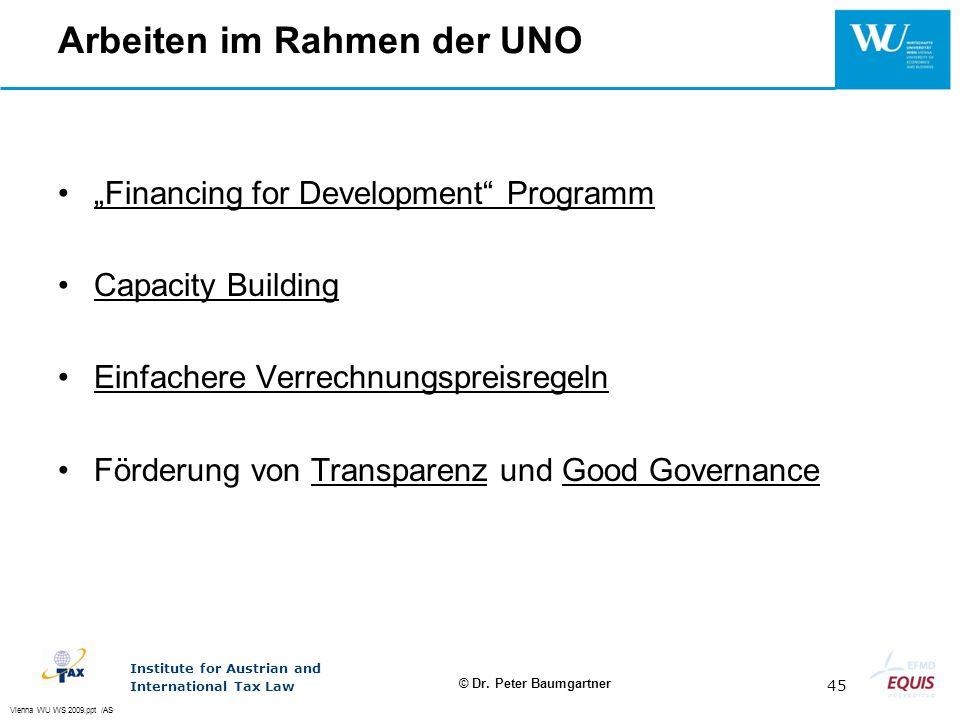 Arbeiten im Rahmen der UNO