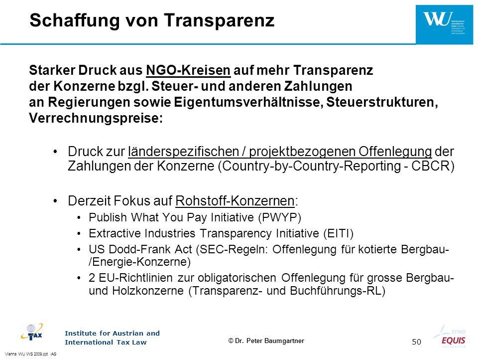Schaffung von Transparenz
