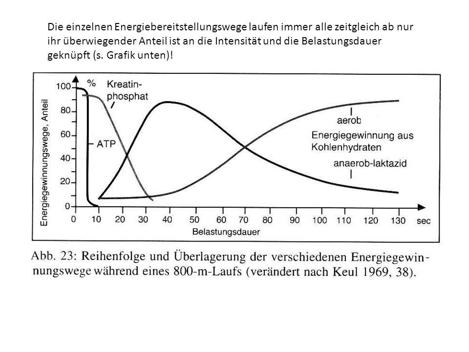 Die einzelnen Energiebereitstellungswege laufen immer alle zeitgleich ab nur ihr überwiegender Anteil ist an die Intensität und die Belastungsdauer geknüpft (s.