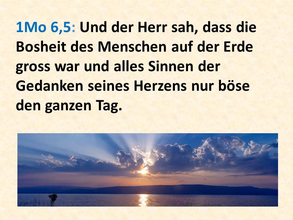 1Mo 6,5: Und der Herr sah, dass die Bosheit des Menschen auf der Erde gross war und alles Sinnen der Gedanken seines Herzens nur böse den ganzen Tag.
