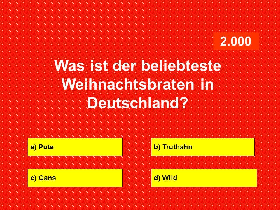 Was ist der beliebteste Weihnachtsbraten in Deutschland