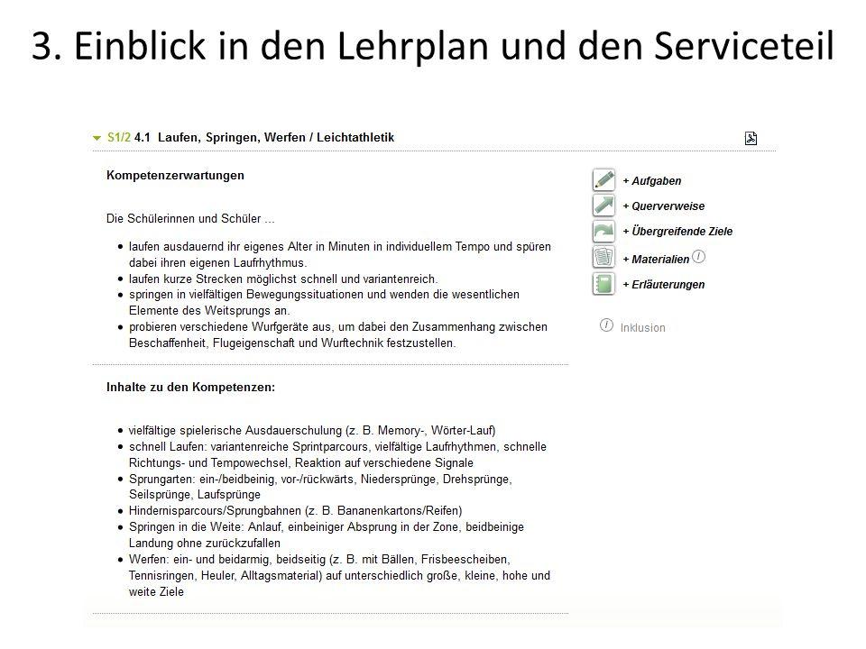 3. Einblick in den Lehrplan und den Serviceteil