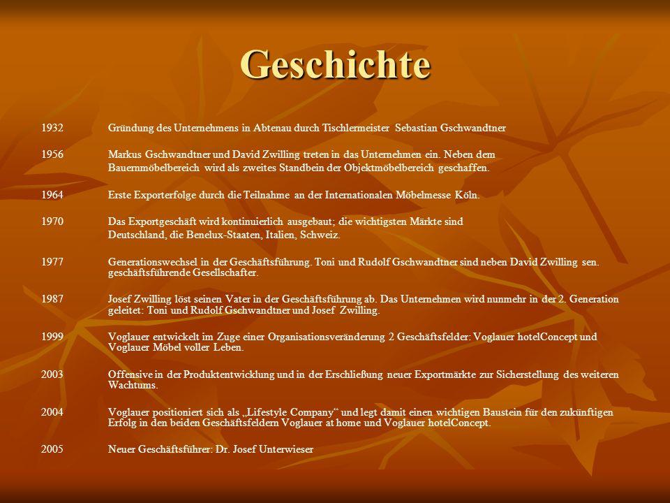 Geschichte 1932 Gründung des Unternehmens in Abtenau durch Tischlermeister Sebastian Gschwandtner.