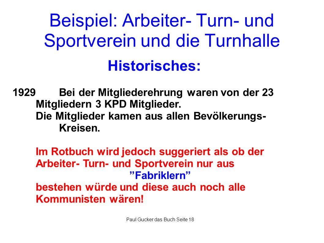 Beispiel: Arbeiter- Turn- und Sportverein und die Turnhalle