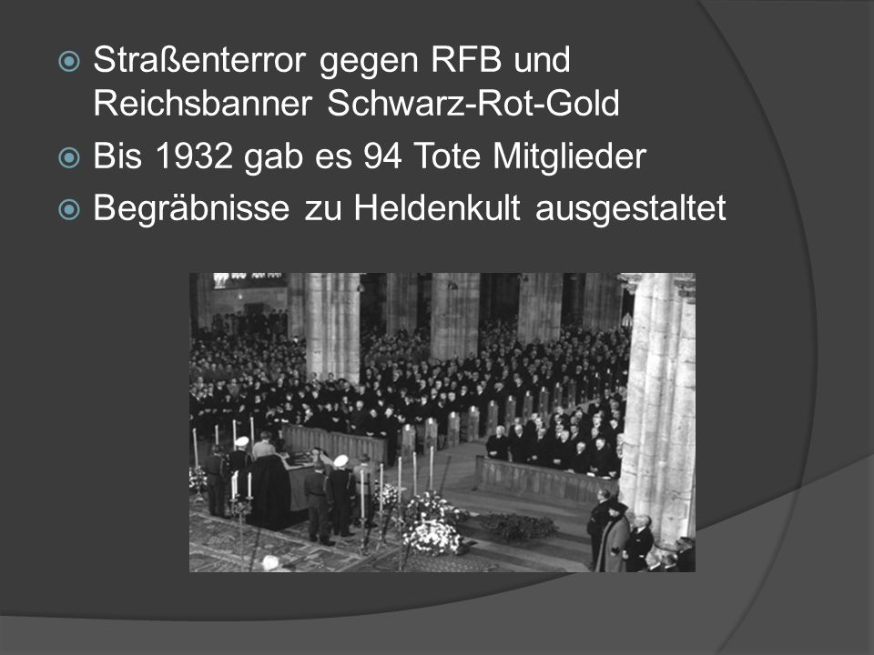 Straßenterror gegen RFB und Reichsbanner Schwarz-Rot-Gold
