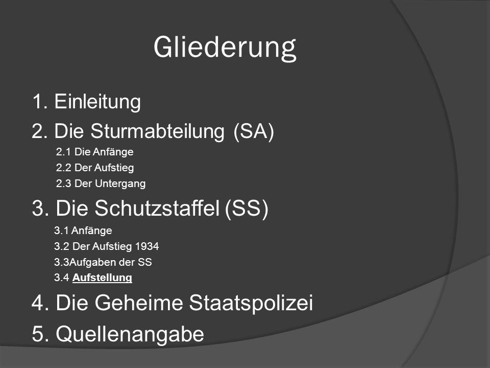 Gliederung 3. Die Schutzstaffel (SS) 4. Die Geheime Staatspolizei