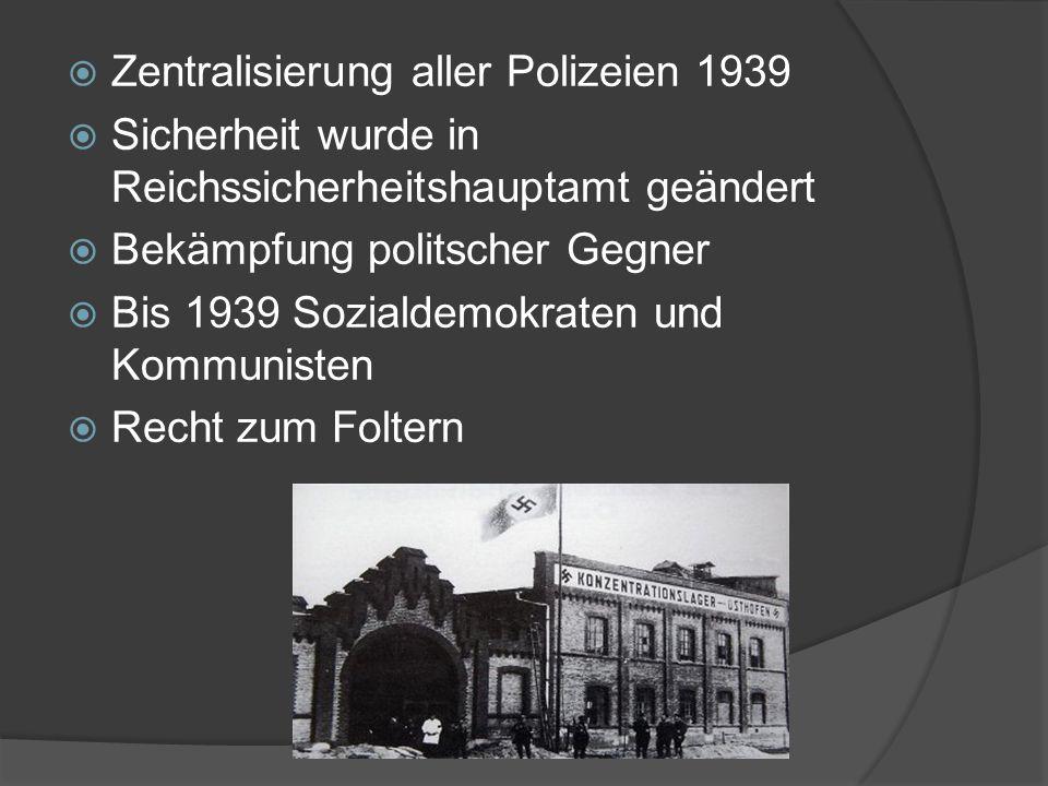Zentralisierung aller Polizeien 1939