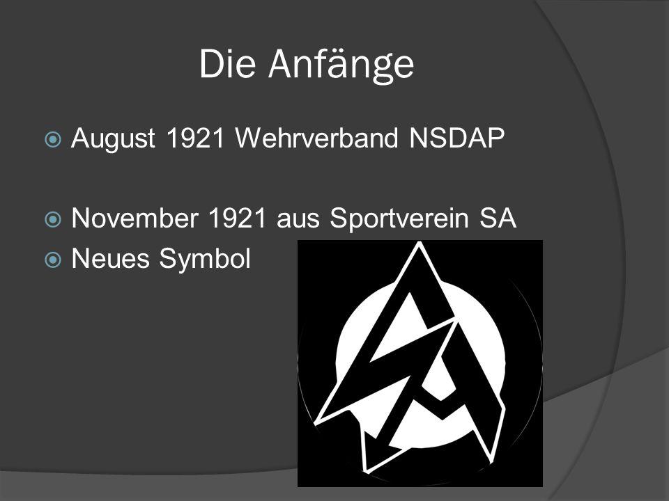 Die Anfänge August 1921 Wehrverband NSDAP
