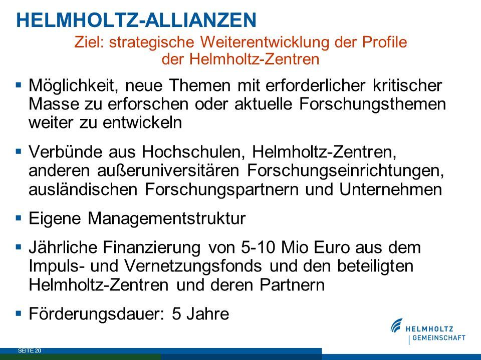 HELMHOLTZ-ALLIANZEN Ziel: strategische Weiterentwicklung der Profile. der Helmholtz-Zentren.