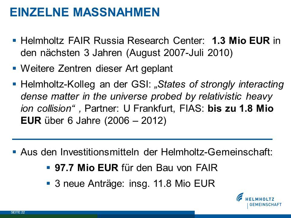 EINZELNE MASSNAHMEN Helmholtz FAIR Russia Research Center: 1.3 Mio EUR in den nächsten 3 Jahren (August 2007-Juli 2010)